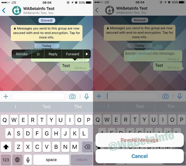 Whatsapp, ricerca delle emoji e revoca dei messaggi le novità
